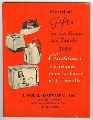 Montreal PASCALS 1959 Electrical Gifts Store Catalog 95 Pages ~ Unused
