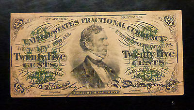 {BJSTAMPS} 1863 25 Cents 3rd Issue Fractional Currency