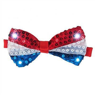 Light Up Bow Tie July 4 LED Patriotic Red White Blue Sequins American Flag 4th