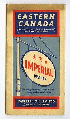 IMPERIAL OIL ESSO 1940 Eastern Canada MAP Ont Que NS, NB, PEI