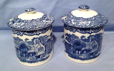 Abbey Ware Blue and White PAIR of Lidded Jars