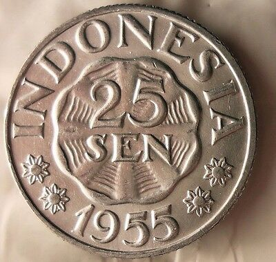 1955 INDONESIA 25 SEN - Great Collectible - FREE SHIPPING - Indonesia Bin A