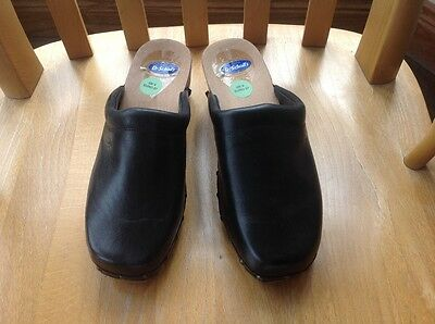 Dr Scholl's Black Leather Wooden Clogs Limited Edition Size UK 4 EU 37 New