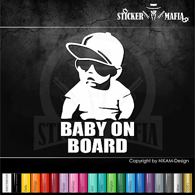 A59W# Aufkleber Baby on Board Kind an Bord Hangover Sticker Auto Tuning Weiss