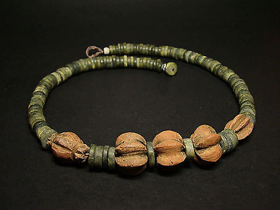ANTIQUE JADESTONE BEADED NECKLACE w/ TERRACOTTA CLAY BEAD ACCENTS