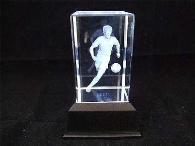 Solid Glass Crystal Laser Block and White Light Box Footballer with Ball.