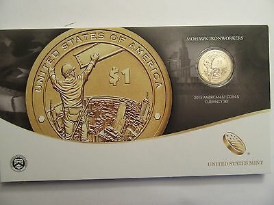 2015 US Mint American $1 Coin & Currency Set, Mohawk Ironworkers, Mint Pkg w/COA