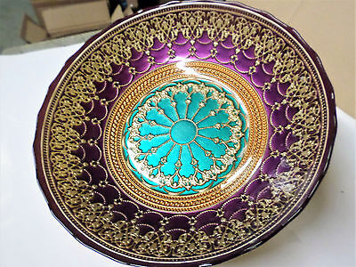 "BEAUTIFUL12"" Moroccan Style GLASS Bowl Salad Dish Decorative Food Table STUNNING"