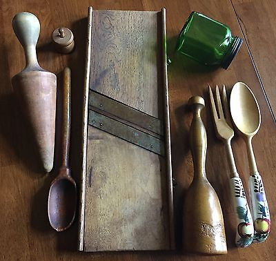 LOT Primitive WOODEN Spoon Butter Mold  KITCHEN FARMHOUSE TOOLS Cabbage Slicer
