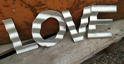 Rustic Corrugated Metal LOVE Wall Art Decor Tin Recycled Antique