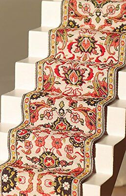 Dolls House Miniature 1:12th Scale Red & Cream Stair Carpet