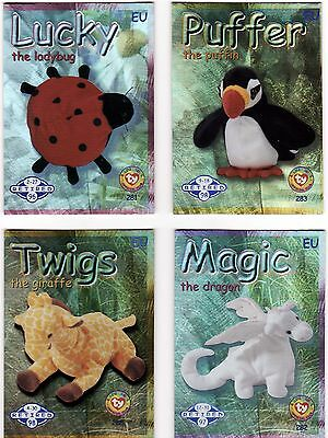 15 X Blue Foil 'retired', 1999 Eu Ty Beanie Babies Cards, Great Lot.