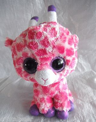 *1603d*  TY Beanie Boos - Twigs, Pink Giraffe with Sparkly purple eyes - plush