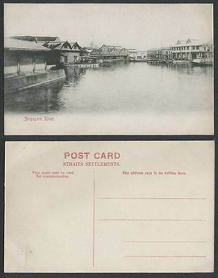 Singapore River Scene, Boats Sampans in Harbour Straits Settlements Old Postcard