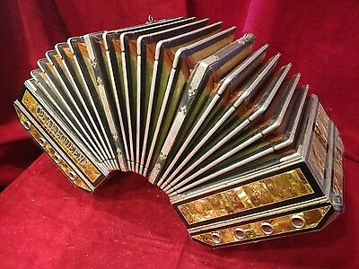 Vintage Pre-War Pearl Queen Concertina Iridescent Gold Abalone MMH 28/24