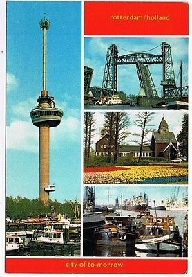 Holland Netherlands Postcard Rotterdam City of Tomorrow Space Tower Bridge Ships