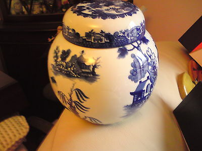 Vintage Royal Cauldon Willow Pattern Tea Caddy Made For R Twining & Co FREE-MAIL