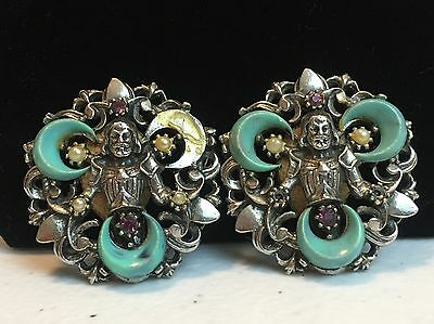 VERY UNIQUE OLD Silver Tone Embellished Clip On Earrings Religious? MUST SEE!
