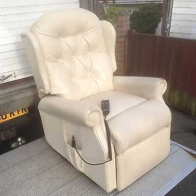 """leather celebrity riser recliner chair  disability armchair 19"""" wide seat"""