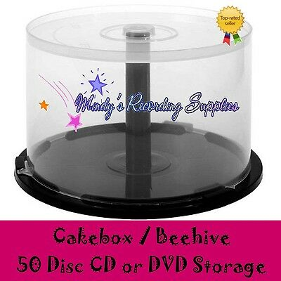 50 Disc Cake Box Storage Container CD DVD Premium Quality Beehive NEW 2-pack