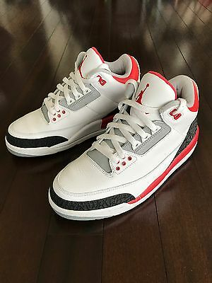 Air jordan 3 retro White Fire Red Cement Grey Size 8