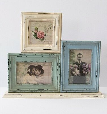 Delilah Triple Free Standing Photo Frame Shabby Chic Blue Green Cream 40x33cm