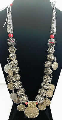 Antique Yemeni Silver Beads & Coins Necklace Late 19th-Early 20th Century Yemen