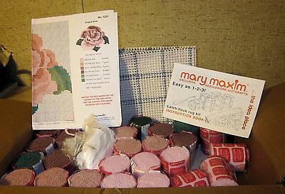 Mary Maxim Latch-hook Rug Kit, Shaped Rose Design, with instruction booklet