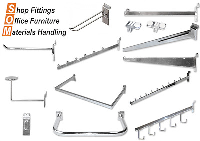 Slat Wall Chrome Accessories (Hooks, Brackets, Hangers, Arms, Hang rails)