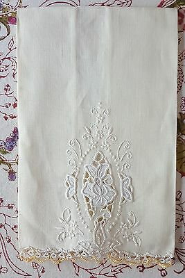Vintage Linen Guest Towel Off White Yellow Hand Embroidered Portugal Belcrest