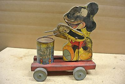 Vintage Very Old Fisher Price Mickey Mouse Pull Toy