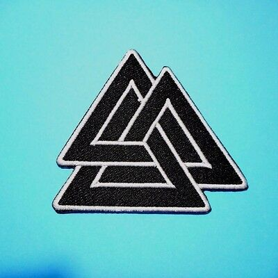 1x Vikings Valknut Trigon Patches Embroidered Cloth Applique Badge Iron Sew On
