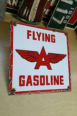FLYING A GASOLINE porcelain sign gas pump plate tydol vintage gasoline