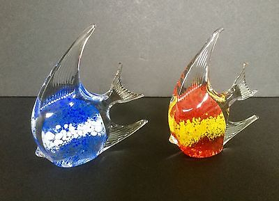 2 Vintage Hand Blown Art Glass Angel Fish White Blue Red Paperweight