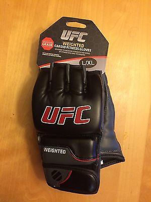 NEW UFC Weighted Cardio Fitness Gloves MMA Weighted Gloves, New Black Sz L/XL