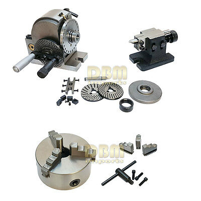 """BS-1 Semi-Universal Dividing Head and 6"""" 3-Jaw Chuck"""