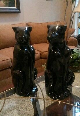 """Haeger Pottery Pair Of Black Panther 21"""" Tall Statues Sculpture 6048 Excellent"""