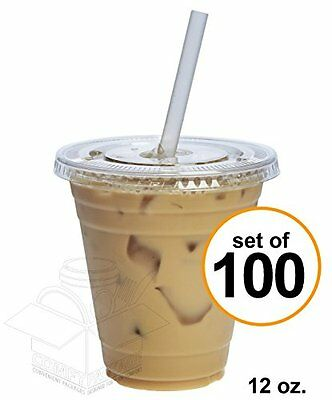 COMFY PACKAGE 100 Sets 12 oz. Plastic CRYSTAL CLEAR Cups with Flat Lids for Cold