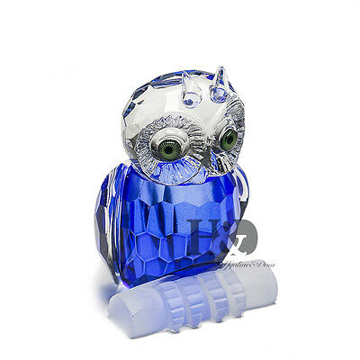 H&D Blue Crystal Paperweight Facet Owl Figurines Glass Wedding Collectibles Gift
