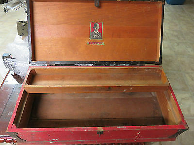 """Vintage 23"""" Long Red and Black  Wooden  Tool  Box Chest with tray"""