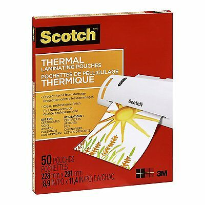 Scotch Thermal Laminating Pouches, 8.97-Inch x 11.45-Inch (Per Pouch), 50 count