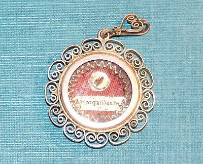 Antique Saint Margaret Virgin & Martyr First Class Relic .800 Silver 1953 Theca