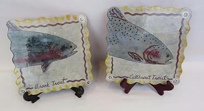 2 Fish Tiles Wall Art Herling CERAMIC Cutthroat Trout Fish, Brook Trout Signed
