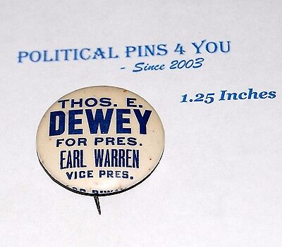1948 THOMAS E. DEWEY warren campaign pin pinback button political presidential