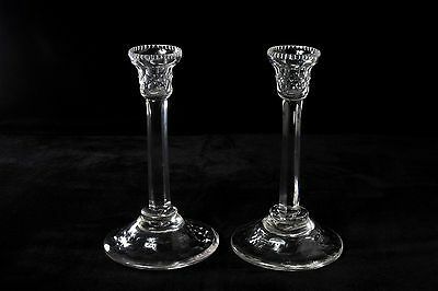 Antique Pair Crystal Candlestick Candle Holders
