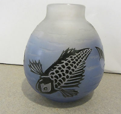 Vintage French Cameo Glass Vase Fish Signed