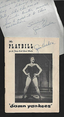 """Gwen Verdon (Signed) """"DAMN YANKEES"""" 1956 Playbill and Autographed Correspondence"""
