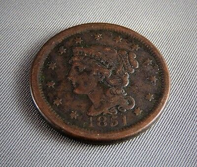 1851 Braided Hair Large Cent copper penny coin USA
