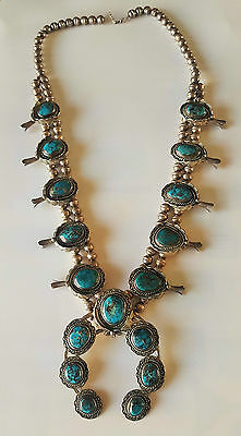 Vintage Sterling Silver Navajo Turquoise Squash Blossom Necklace Signed 210g