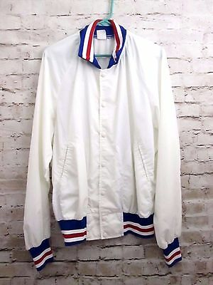 Vtg. 70's 80's Red, White & Blue MADE USA plain SATIN JACKET 4th of July XL